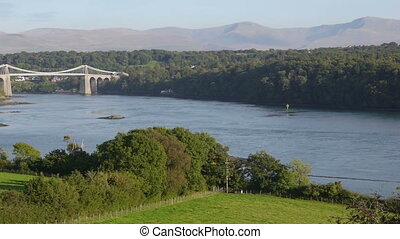 Menai Suspension bridge in North Wales connects tha mainland...