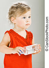 Funny baby - Beautiful baby girl with buttle of water