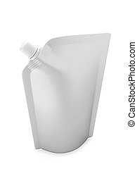 Blank spout pouch with cap or doy pack isolated on white...
