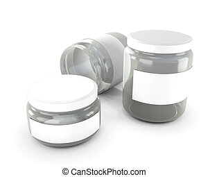 Glass jars of various sizes isolated on white background. 3d...