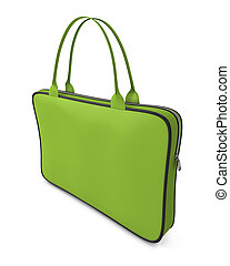 Green handbag with zipper isolated on white background 3d...