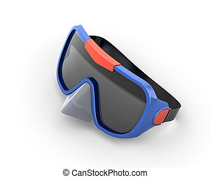 Scuba mask isolated on white background 3d render image