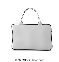 White bag with zipper front view on a white 3d render image...