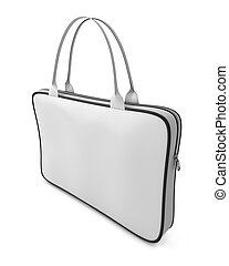 White bag with zipper isolated on white background 3d...
