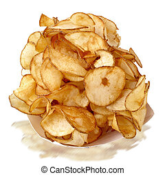 Hand cut potato chips - Steaming paper bowl stacked full of...