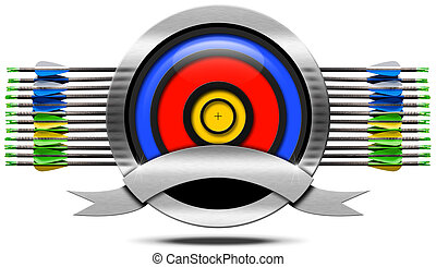 Archery Metal Icon - Archery icon with blue, red and yellow...