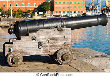 Old Cannon La Spezia Italy - Old naval cannon 1819, harbor...