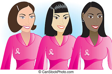 pink cancer women - Vector Illustration for Breast Cancer...