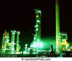 Oil Refinery - An oil refinery illuminated at night