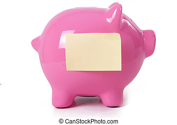 Pink Piggy Bank abd Sticky Note
