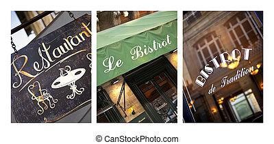 Bistro - Collage of French vintage bistro and restaurant