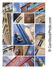 Facades - Collage of various stylish and classic French...