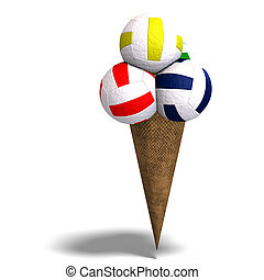 volleyballs in an ice cream cone - 3D rendering of...