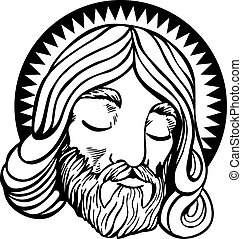 Jesus Line Art - Face of Jesus with halo in a cartoon style...