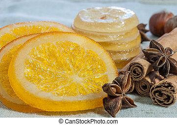 Naranjas y limones secos - Rodajas de naranjas y limones...