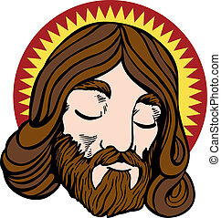 Jesus face - Face of Jesus with halo in a cartoon style...
