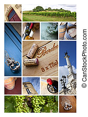Bordeaux - Collage of views and wineries at Bordeaux