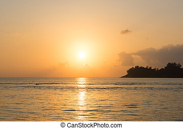 Tropical sunset landscape background