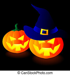 Halloween Pumpkins - Abstract vector illustration of two...