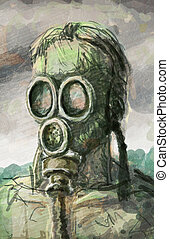Sketch of a man in a gas mask - Grungy sketch of a man in a...