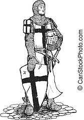 Crusader with sword and shield