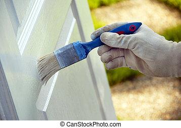 Painting wooden door - painting wooden door in white color...