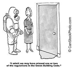 Green Building Code - Cartoon of sludge below door and man...
