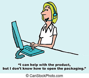 Customer Service Rep - Cartoon of customer service rep with...