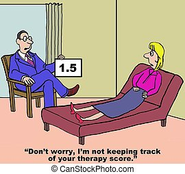 Therapy Score - Cartoon of therapist holding up patient's...