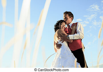 wedding fine art portrait of couple - A wedding couple with...