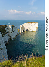 Jurassic Coast Dorset England UK chalk stacks Old Harry...