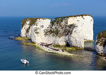 Jurassic Coast Dorset England UK Old Harry Rocks chalk...