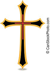 Golden Cross - Christian religious symbol Cross vector image
