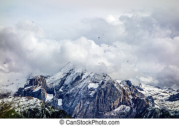Dolomites - Paratroopers in Sasso Piatto Dolomites mountains...