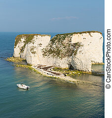 Studland coast chalk cliffs uk - Old Harry Rocks chalk rocks...