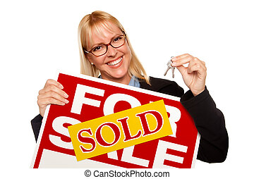 Attractive Blonde Holding Keys & Sold For Sale Sign Isolated...