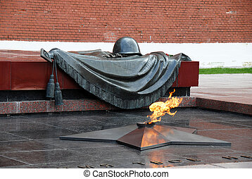 Tomb of the Unknown Soldier with burning flame