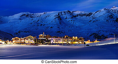 Tignes, alps, France - Evening landscape and ski resort in...