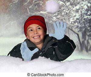 Snowball Catcher - A happy kindergarten boy catching a...