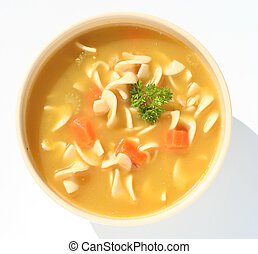 Chicken noodle soup - Bowl of chicken noodle soup