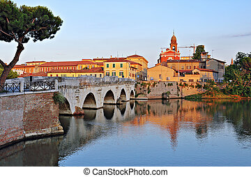 Bridge of Tiberius in Rimini, Italy. - Bridge of Tiberius in...