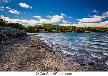 Beach on Frenchman Bay, Bar Harbor, Maine.