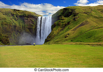 Waterfall, Iceland - Skgarfoss waterfall, Iceland