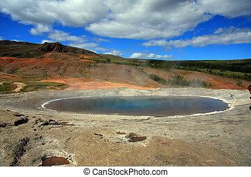Geyser - Strokkur geyser erupting in Geysir Iceland