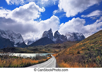 Vertiginous landscape in the Chilean Andes. The road between...