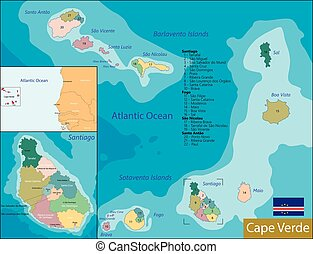 Cape Verde map - Administrative division of the Republic of...