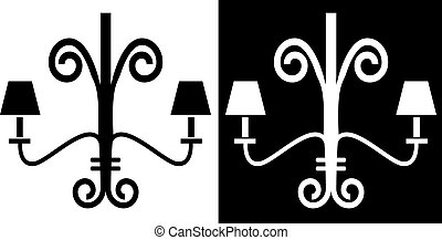 Chandelier - Iron rod chandelier icon isolated on white...