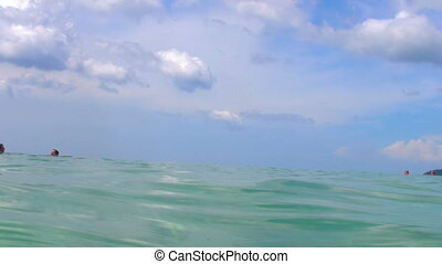 What drowning man sees - Swimmers point of view Andaman sea,...