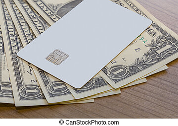 Credit or Debit Card on Dollar Notes - A Blank white Credit...