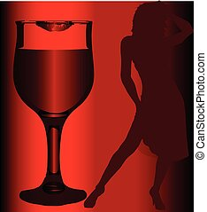 Girl and Lipstick Wine Glass
